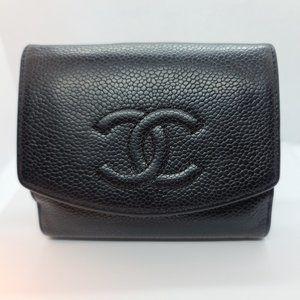 Chanel Wallet CC Black Caviar Leather Wallet